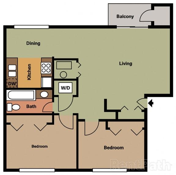 Two Bedroom Floor Plan at Hamilton Square Apartments, Westfield, 46074