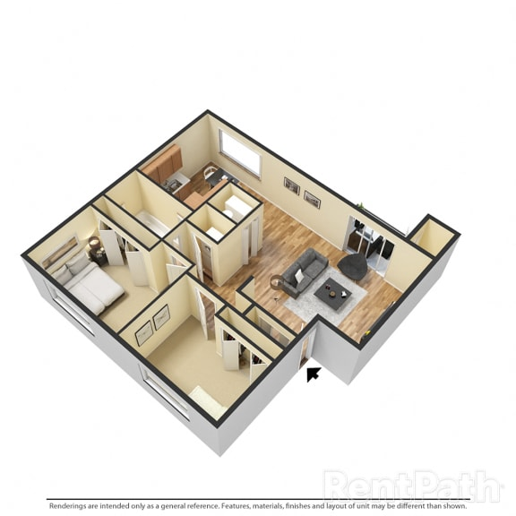 Two Bedroom Floor Plan Available at Hamilton Square Apartments, Indiana