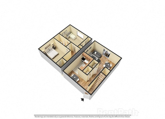 Floor Plan  Spacious Two Bedroom Townhome at Hamilton Square Apartments, Indiana, 46074