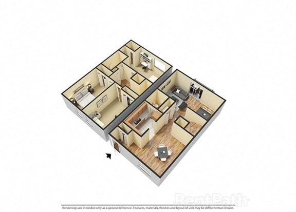 Three Bedroom Townhome Floor Plan at Hamilton Square Apartments, Westfield, IN, 46074