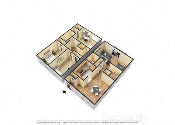 Floor Plan  Three Bedroom Townhome Floor Plan at Hamilton Square Apartments, Westfield, IN, 46074