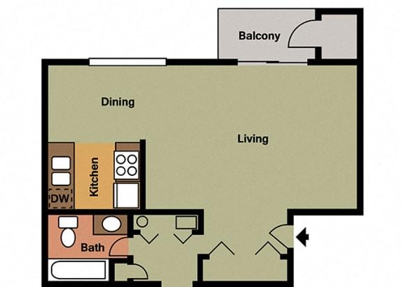 Large studio Floor Plan at Hamilton Square Apartments, Westfield, IN