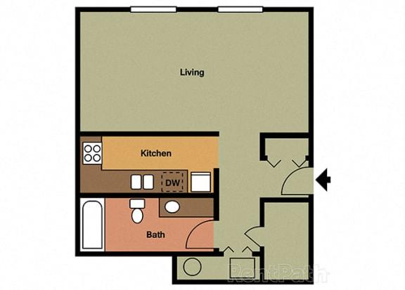 Studio Floor Plan at Hamilton Square Apartments, Westfield, IN, 46074