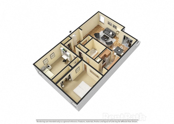 Floor Plan  2 Bedroom Garden Floor Plan Available at Lake Camelot Apartments, Indianapolis, 46268