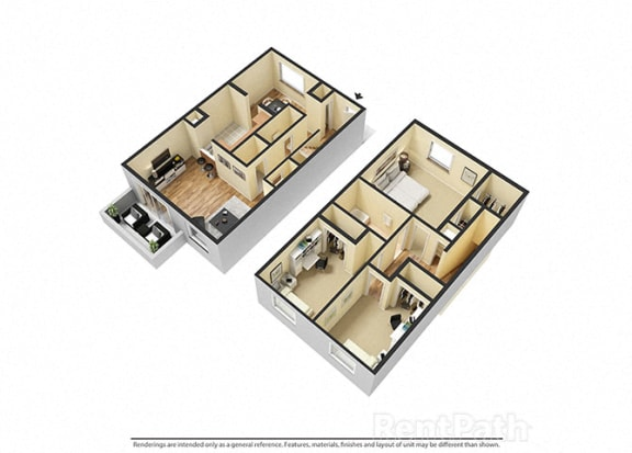 Spacious 3 Bedroom Townhome Floor Plan at Lake Camelot Apartments, Indianapolis