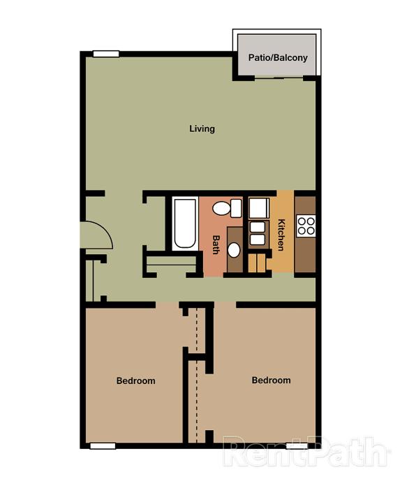 2 Bedroom Garden Floor Plan at Lake Camelot Apartments, Indianapolis
