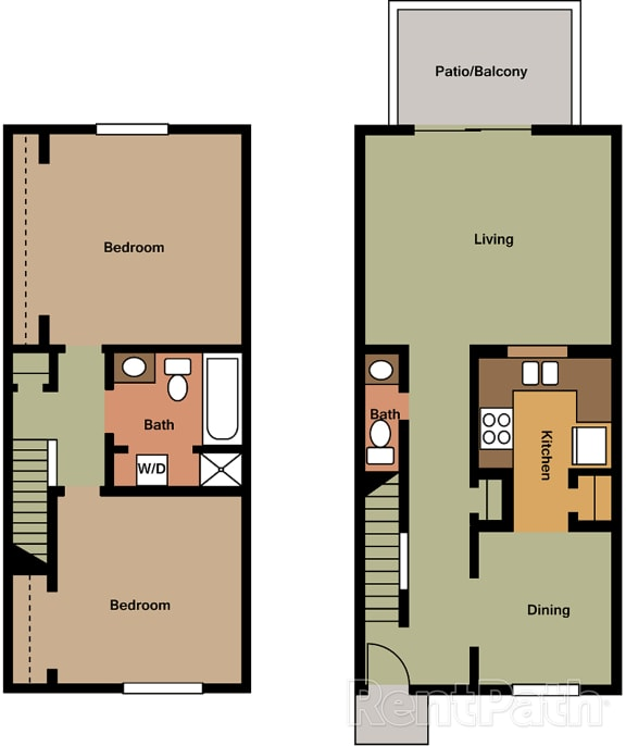 2 Bedroom Townhome Floor Plan at Lake Camelot Apartments, Indiana