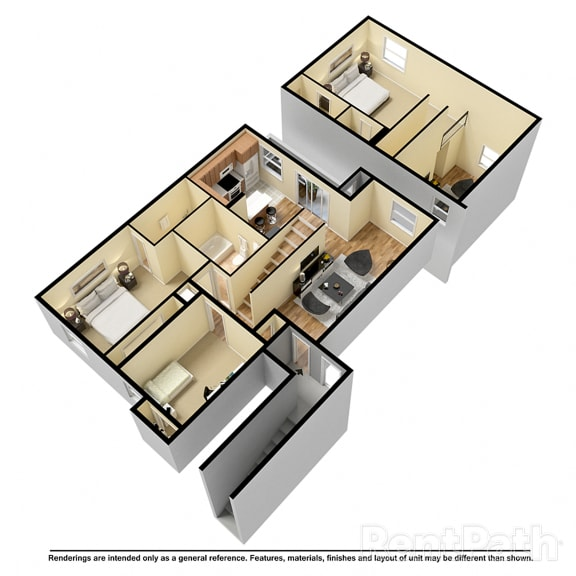 Floor Plan  3 Bedroom Loft Available at Lake Marina Apartments, Indiana, 46229