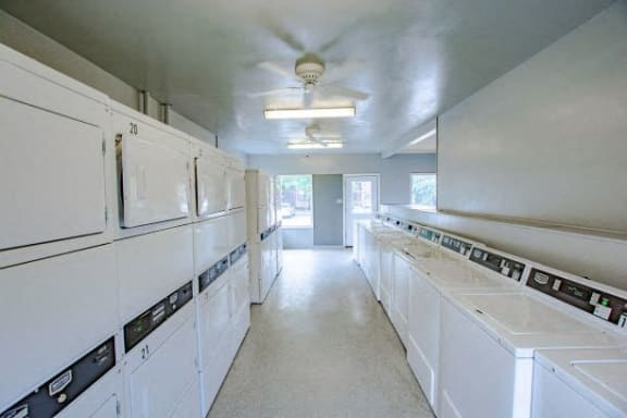 Bright Laundry Room at Lake Marina Apartments, Indianapolis, Indiana