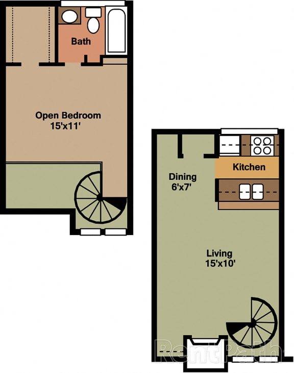1 Bedroom Townhouse Floor Plan at Lake Marina Apartments, Indianapolis, IN, 46229