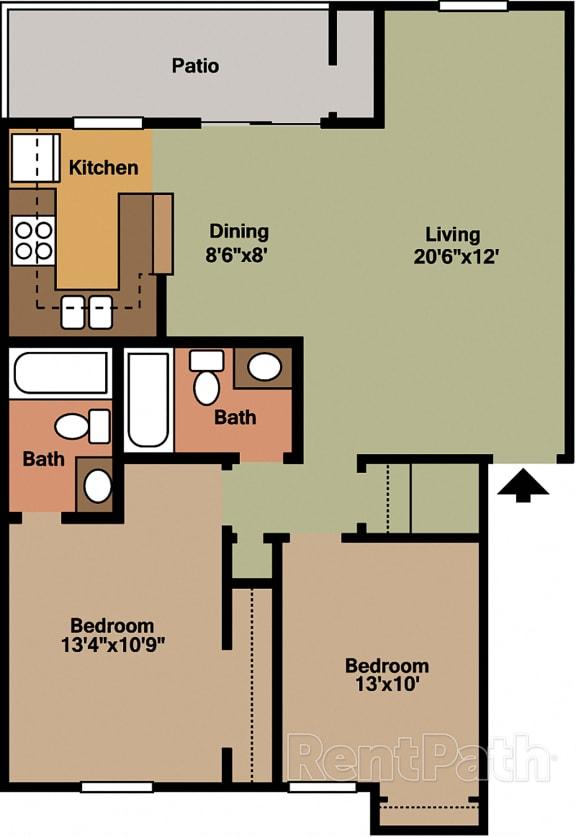 2 Bedroom Garden Floor Plan at Lake Marina Apartments, Indianapolis, Indiana