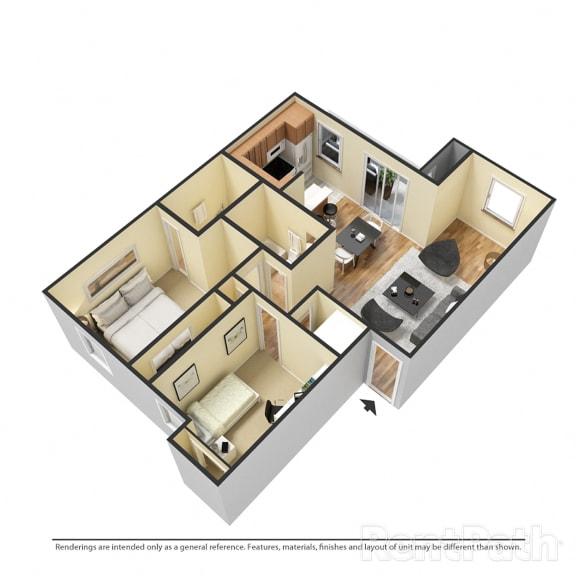 2 Bedroom Garden Available at Lake Marina Apartments, Indiana