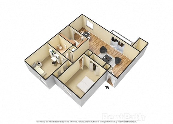 Floor Plan  2 BR, 1 Bath Floor Plan 3D View at Pickwick Farms Apartments, Indianapolis, 46260