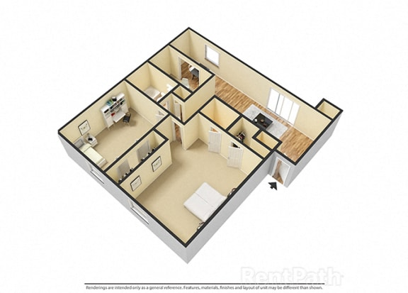 Floor Plan  2 BR, 2 Bath Floor Plan 3D View at Pickwick Farms Apartments, Indianapolis