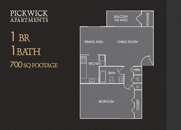 1 BR, 1 Bath Floor Plan at Pickwick Farms Apartments, Indiana, 46260