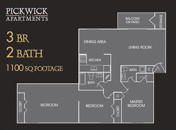 3 BR, 2 Bath Floor Plan at Pickwick Farms Apartments, Indianapolis, Indiana