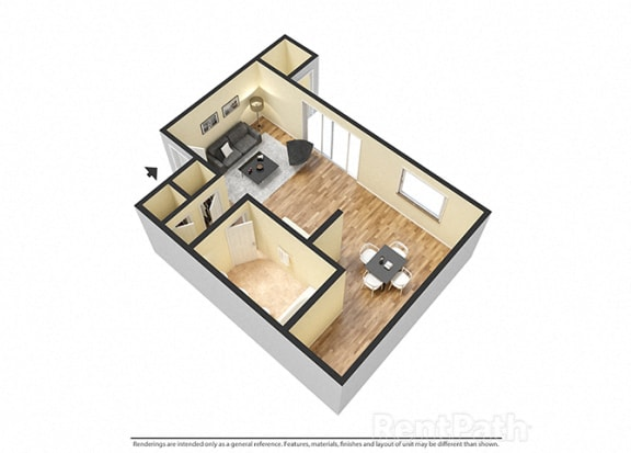 Studio 3D View at Pickwick Farms Apartments, Indianapolis, IN, 46260