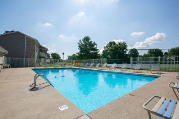 Poolside Relaxing Area at Sandstone Court Apartments, Greenwood