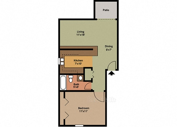 1 Bedroom, 1 Bathroom Floor Plan at Sandstone Court Apartments, Indiana