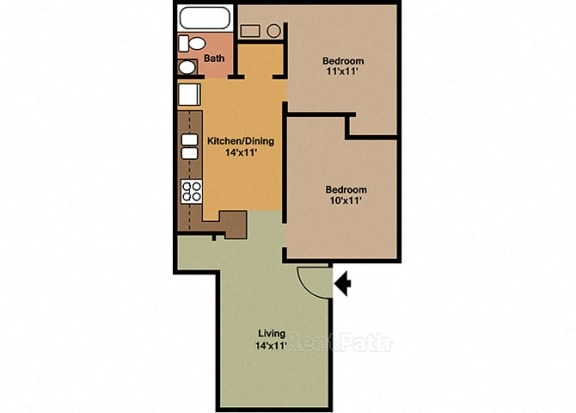 2 Bedroom, 1 Bathroom Floor plan at Sandstone Court Apartments, Indiana, 46142
