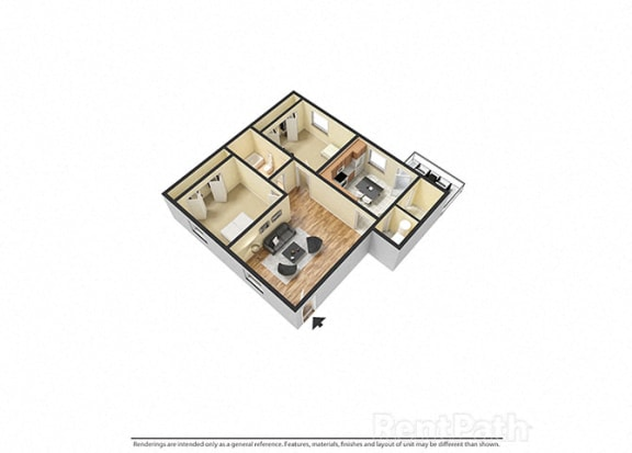 Floor Plan  2 Bedroom 1 Bathroom 3D Spacious Floor plan at Sandstone Court Apartments, Greenwood, 46142