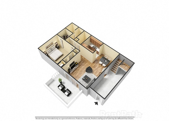 1 Bedroom 1 Bathroom 3D View Floor Plan at The Lodge Apartments, Indianapolis, IN, 46205