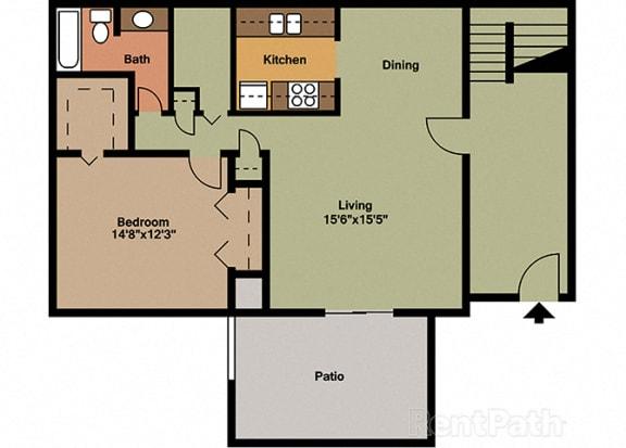 1 Bedroom 1 Bathroom Floor Plan at The Lodge Apartments, Indianapolis, 46205