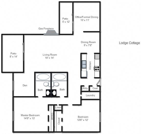 Cottage Floor Plan at The Lodge Apartments, Indianapolis, IN