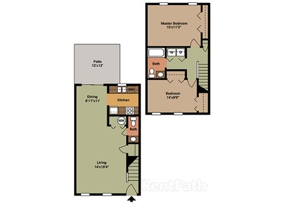 Two Bedroom Town Floor Plan at Walnut Creek Apartments, Kokomo, IN, 46902