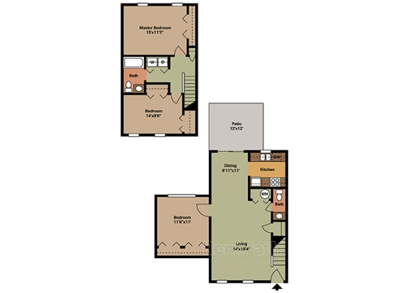 Three Bedroom Town Floor Plan at Walnut Creek Apartments, Kokomo, Indiana