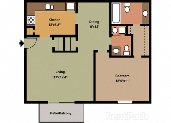 1 Bedroom 1.5 Bath Floor Plan at Waterstone Place Apartments, Indianapolis, 46229