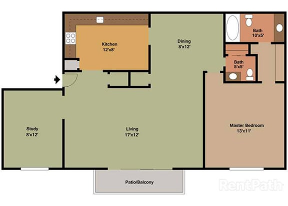 1 Bedroom 1.5 Baths Plus Den Floor Plan at Waterstone Place Apartments, Indianapolis, Indiana