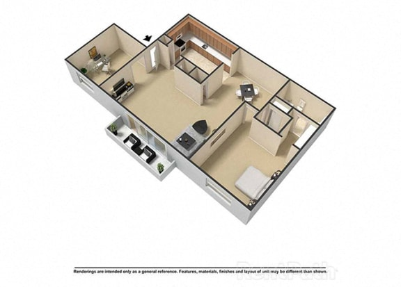 1 Bedroom 1.5 Baths Plus Den 3D Floor Plan at Waterstone Place Apartments, Indianapolis, 46229