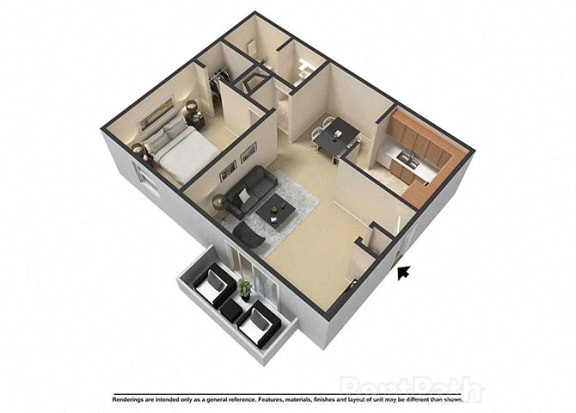 Floor Plan  1 Bedroom 1 Bath 3D Floor Plan at Waterstone Place Apartments, Indianapolis, Indiana