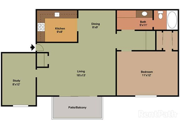 1 Bedroom, 1 Bath Plus Den Floor Plan at Waterstone Place Apartments, Indianapolis
