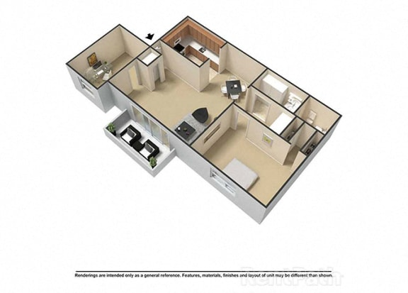 1 Bedroom, 1 Bath Plus Den 3D Floor Plan at Waterstone Place Apartments, Indianapolis