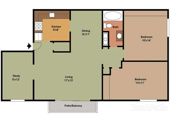 2 Bedroom 1 Bath Plus Den Floor Plan at Waterstone Place Apartments, Indianapolis, IN, 46229