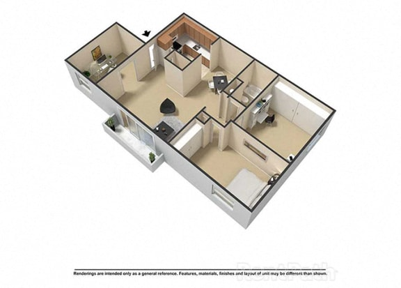 2 Bedroom 1 Bath Plus Den 3D Floor Plan at Waterstone Place Apartments, Indianapolis, IN, 46229