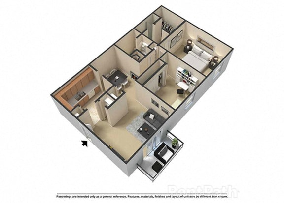 2 Bedroom 2 Bath 3D Floor Plan at Waterstone Place Apartments, Indianapolis, IN