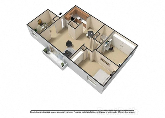 3 Bedroom 1 Bath 3D Floor Plan at Waterstone Place Apartments, Indiana, 46229