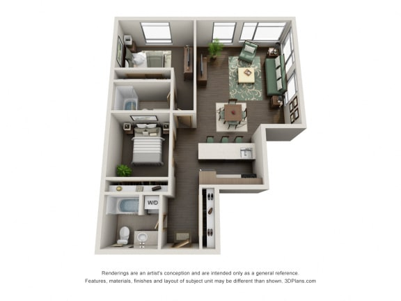 Floor Plan  Traditional 2bd 2ba Floor Plan at at Link, Seattle