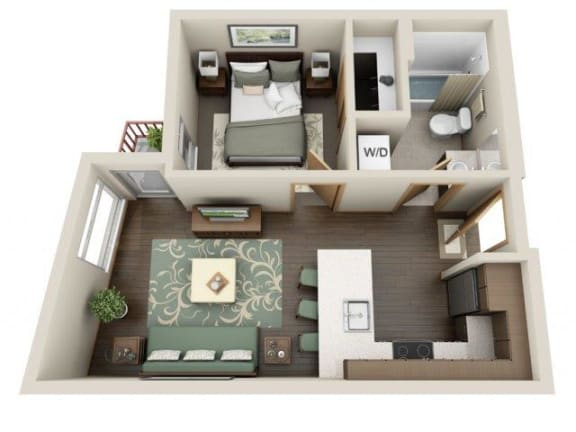 Floor Plan  Traditional 1bd 1ba - A Floor Plan at Link Apartment Homes, Seattle, 98126