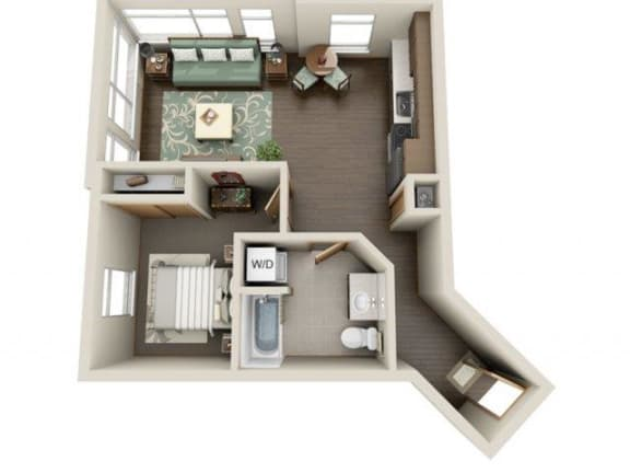 Floor Plan  Traditional 1bd 1ba - C Floor Plan at Link Apartment Homes, 4550 38th Avenue SW, WA