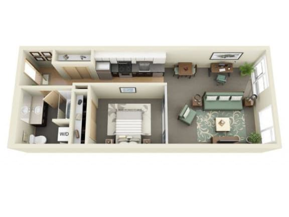 Floor Plan  Urban 1bd 1ba - A at Mural, Seattle, WA
