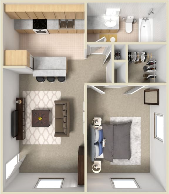 Floor Plan  1 Bedroom Apartment