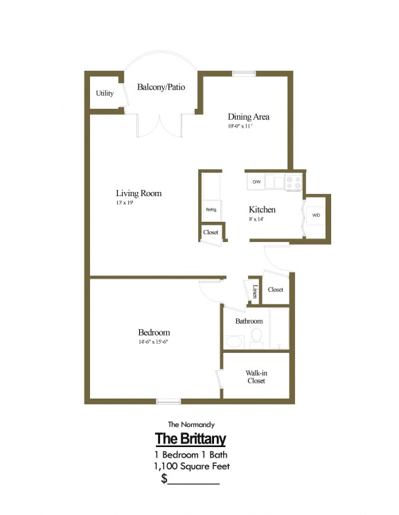 1 bedroom 1 bathroom Normandy apartment floor plan at The Brittany in Pikesville