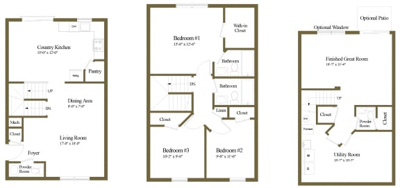Carlson Woods 3 Bedroom 2.5 Bathroom Townhome