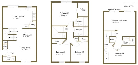 3 bedroom end floor plan at Carlson Woods Townhome
