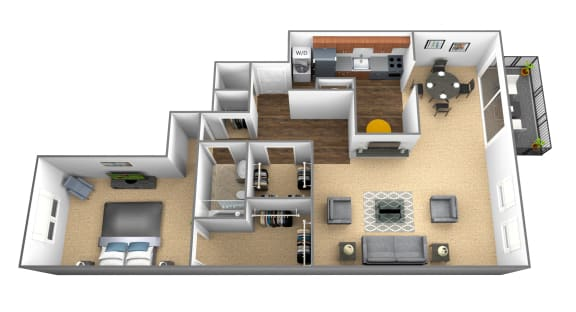 Floor Plan  1 bedroom 1 bathroom floor plan at Charlesgate Apartments