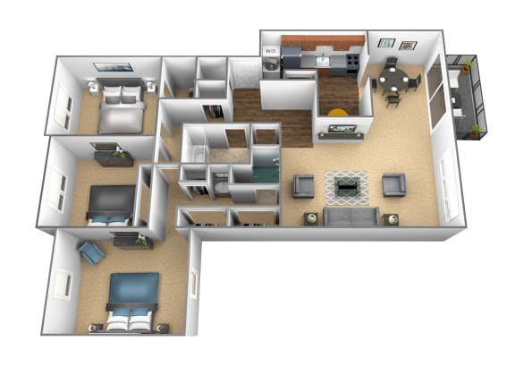 Floor Plan  3 bedroom 2 bathroom floor plan at Charlesgate Apartments